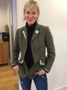 Customised tweed jacket worn by Hermione Norris