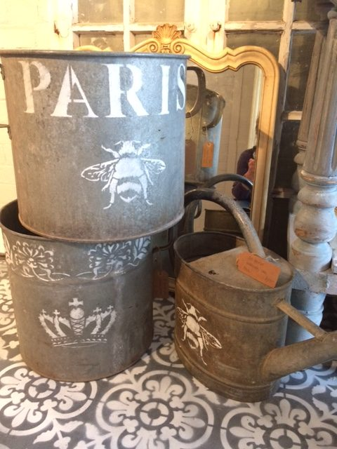 French tin ware stencilled in Annie Sloane and waxed